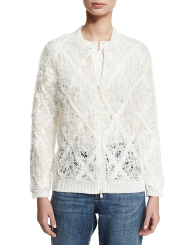 Linen-Silk Argyle Bomber Jacket, White