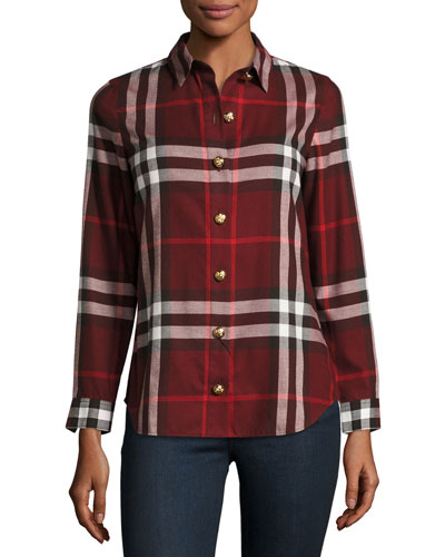 Long-Sleeve Button-Front Check-Flannel Shirt, Red