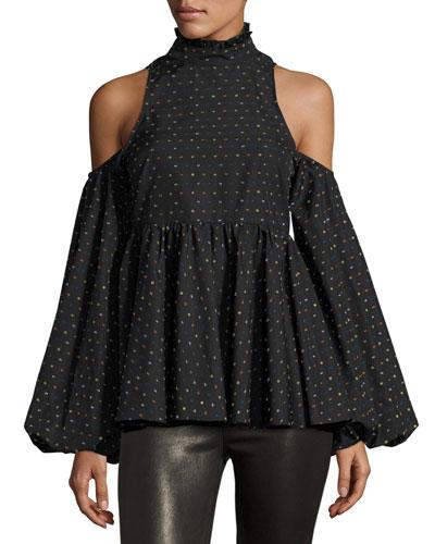 Printed Cold-Shoulder Blouse, Multi
