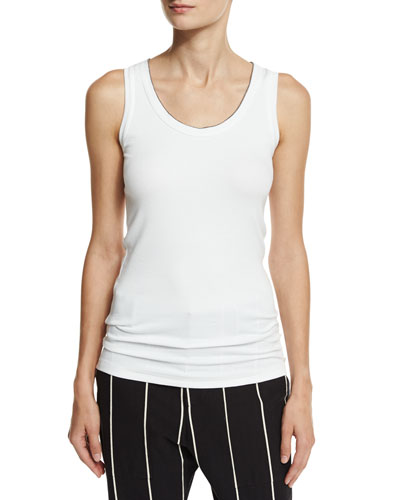 Monili-Tipped Scoop-Neck Tank Top