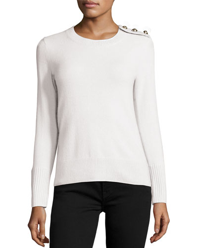 Cashmere Button-Shoulder Sweater, Natural White