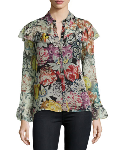 Hazel Long-Sleeve Floral-Print Frill Blouse, Black