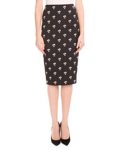 Daisy Jacquard Pencil Skirt, Black/White/Gold