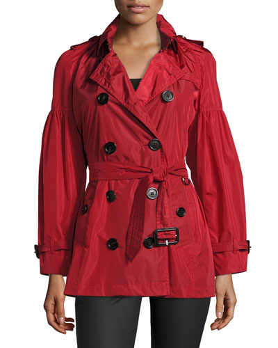 Middlemere Bell-Sleeve Short Trench Coat, Red