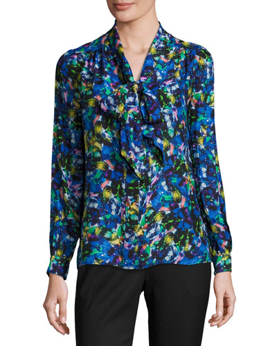 Long-Sleeve Jewel-Print Satin Chiffon Tie-Neck Blouse, Multi