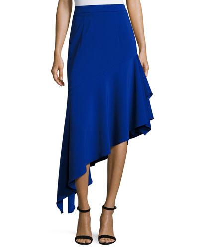 Charlotte Asymmetric Ruffled Midi Skirt, Cobalt