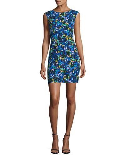 Sleeveless Jewel-Print Sheath Dress, Multi