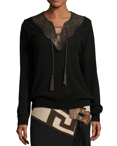 Embroidered Leather-Trim Cashmere Sweater, Black/Brown