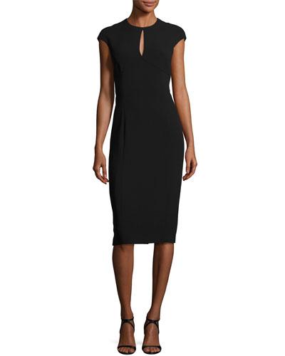 Keyhole Cap-Sleeve Sheath Dress, Black