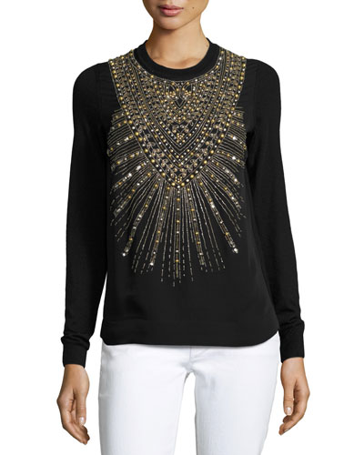 Beaded & Studded Crewneck Sweater, Black