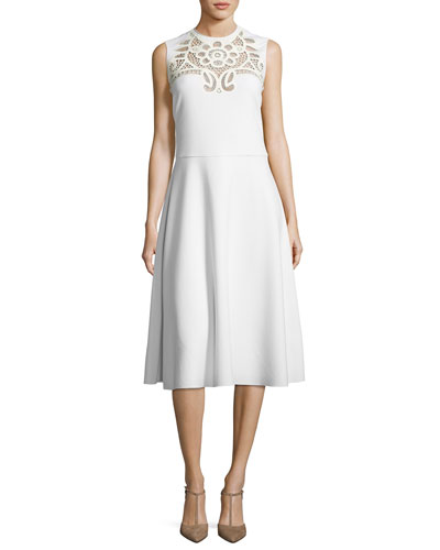 Sleeveless Lace-Inset A-Line Dress, Cream