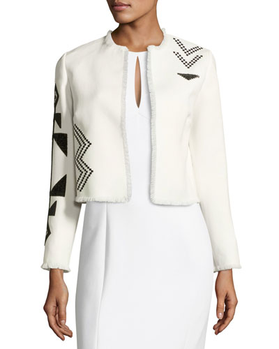 Eleanora Beaded Short Jacket, Cream