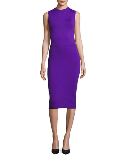 Sleeveless Ottoman-Skirt Sheath Dress, Purple