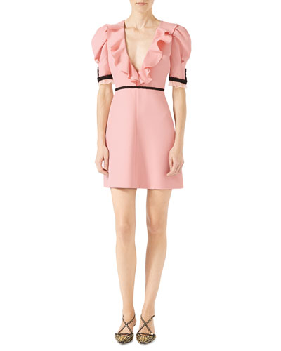 Crepe Silk Wool Dress, Light Pink