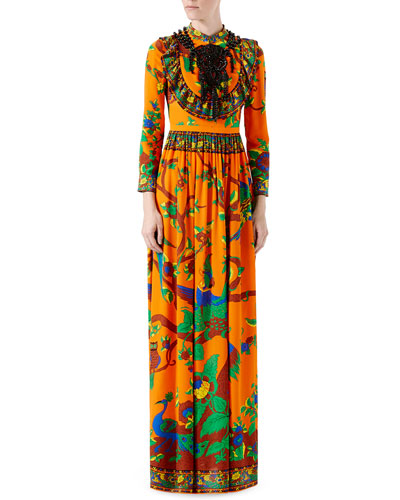 Jubilee-Print Silk Gown, Orange