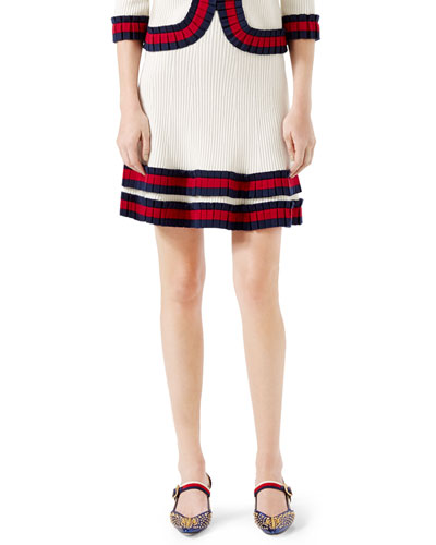 Knit Wool Skirt, Ivory