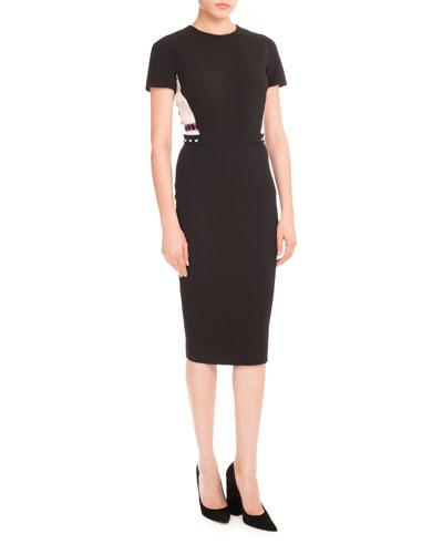 Ribbed-Inset Short-Sleeve Dress, Black/Cream/Navy