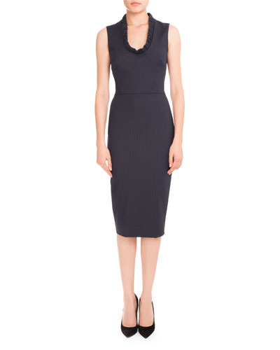 Pinstripe Ruffled-Trim Sheath Dress, Navy