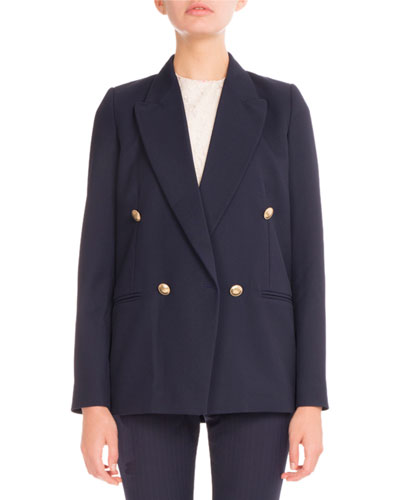 Double-Breasted Boxy Blazer, Navy
