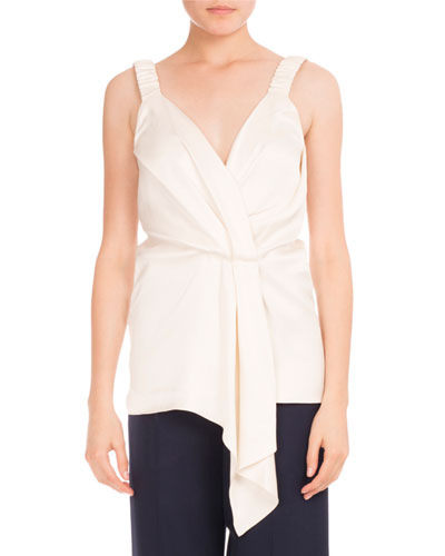 Faux-Wrap V-Neck Top, Ivory