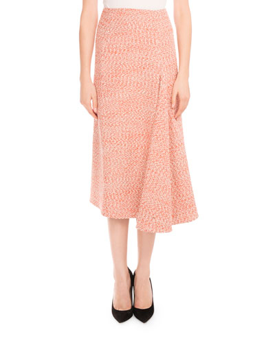 Tweed Side-Drape Midi Skirt, Orange/White