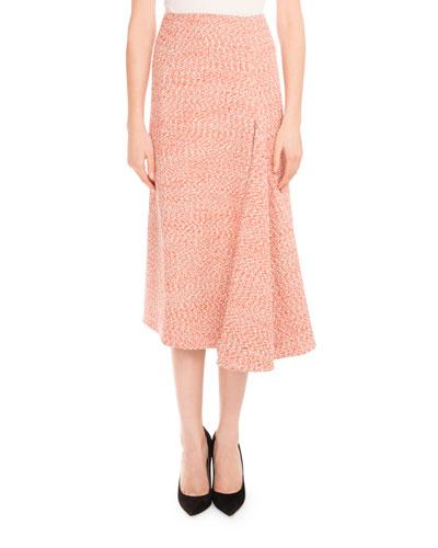 Tweed Side-Drape Midi Skirt