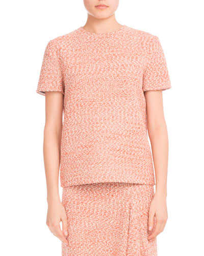 Tweed Short-Sleeve Round-Neck Top, Orange/White