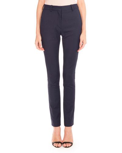 Pinstripe Slim-Leg Pants, Navy