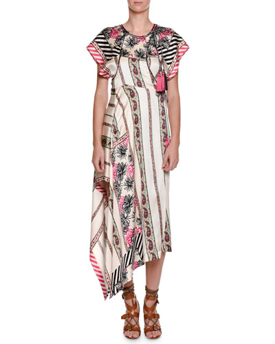 Pepper Printed Asymmetric-Hem Dress, Pink/White