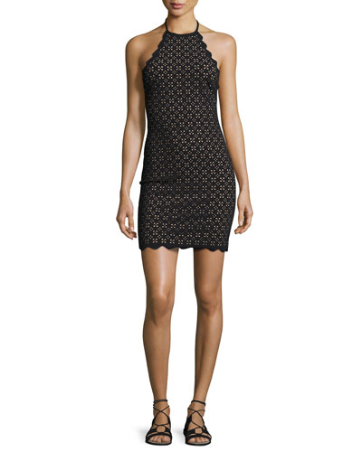 Mott Scalloped Lace Halter Minidress, Black