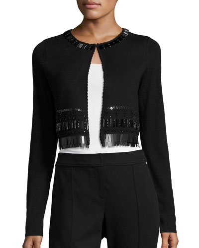 Lumina Embellished Merino Cropped Cardigan, Black