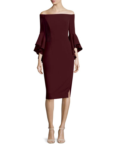 Selena Off-The-Shoulder Sheath Dress, Bordeaux