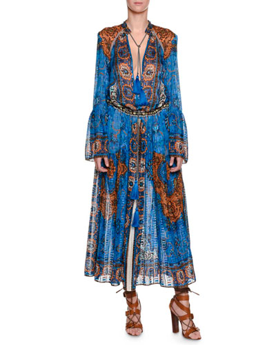 Saffron Printed Caftan Dress, Blue