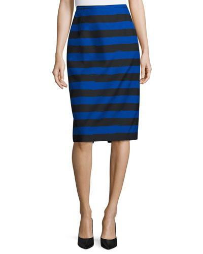 Striped Slim Pencil Skirt, Black/Blue