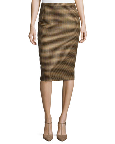 Slim Houndstooth Pencil Skirt, Chocolate