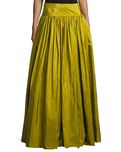 Ruffled Silk Ball Skirt, Green