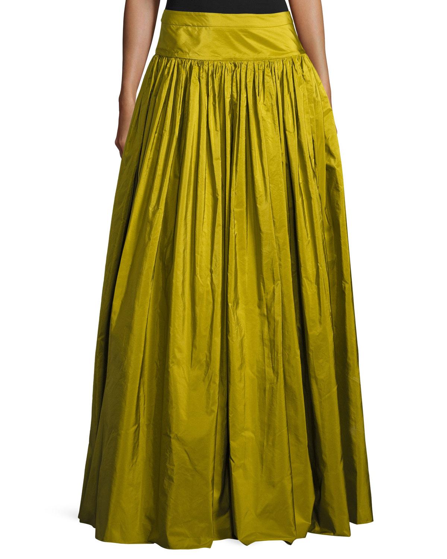 Ruffled Silk Ball Skirt, Green