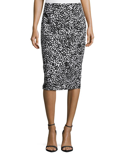 Allover Dotted Matelasse Pencil Skirt, White/Black