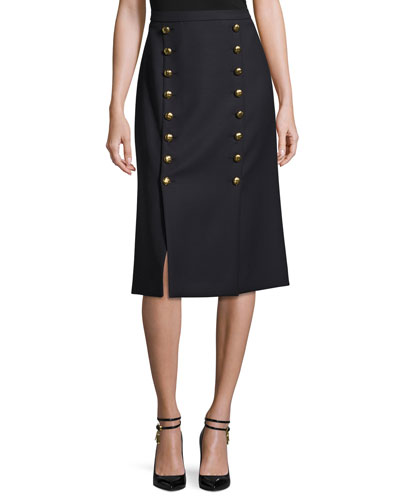 Button-Front A-Line Skirt, Navy