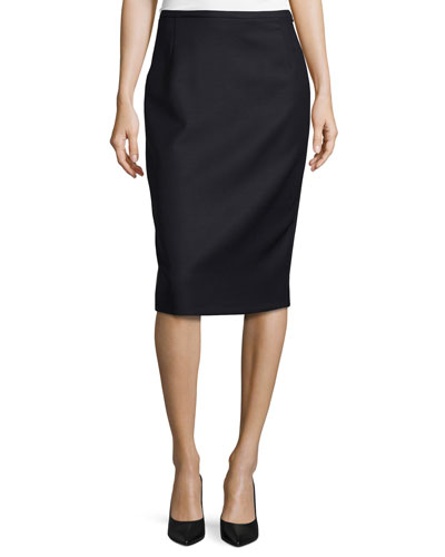 Wool Pencil Zip-Up Skirt, Navy
