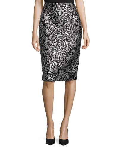 Zebra Jacquard Pencil Skirt