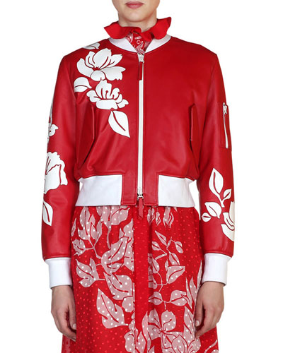 Floral Leather Bomber Jacket, Red/White