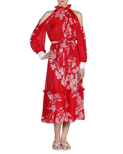 Floral Cold-Shoulder Ruffled-Neck Dress, Red/White