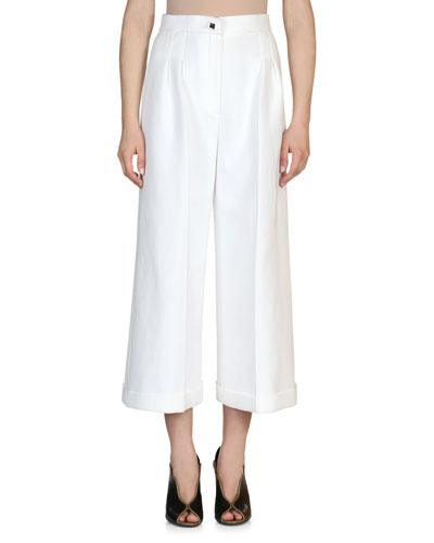 High-Waist Wide-Leg Cuffed Pants, White