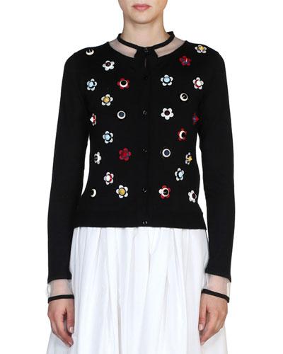 Floral-Stud Illusion Cardigan, Black/Multi