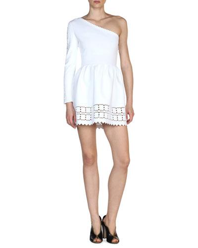 Laser-Cut One-Shoulder Dress, White