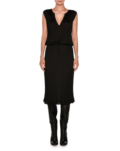 Sleeveless Tie-Neck Drawstring Dress, Black