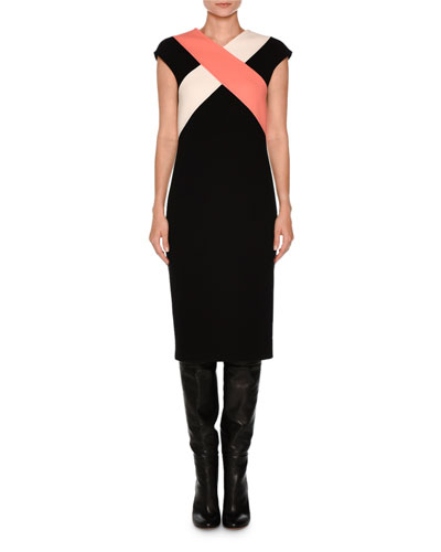 Cross-Front Cap-Sleeve Dress, Black/White/Coral