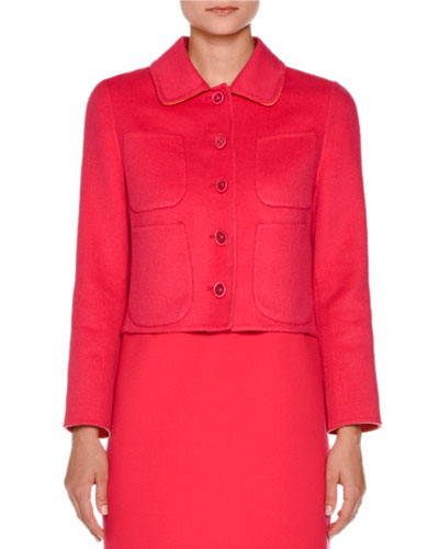 Cropped Four-Pocket Cashmere Jacket, Hibiscus/Coral