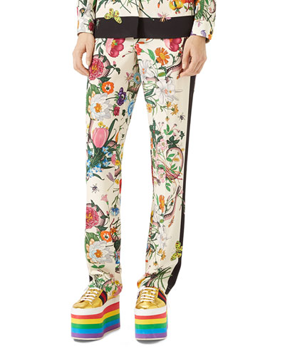 Flora Snake Silk Pajama Pants, White/Multi
